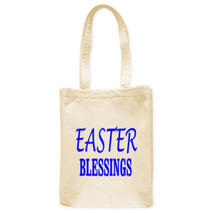 "Easter Blessings Tote Bag, Natural, 10.5""x14"", Cotton, Sunday Holiday Bags Totes - Item 140252-NTL"