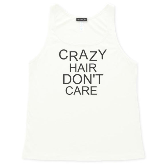 Crazy Hair Don't Care Tank Top, Womens, White, Relaxed Fit, Weekend Beachwear Seashore Vacation Tanks Tops - Item 140259-WHT