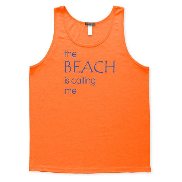 The Beach Is Calling Me Tank Top, Mens/Womens, Orange, Weekend Beachwear Seashore Vacation Tanks Tops - Item 140261-ORG
