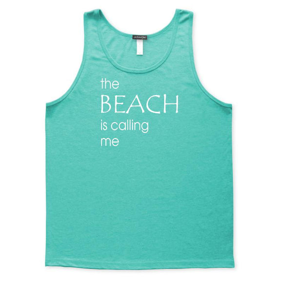 The Beach Is Calling Me Tank Top, Mens/Womens, Teal, Weekend Beachwear Seashore Vacation Tanks Tops - Item 140261-TEL