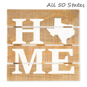 "Home State Hanging Wood Sign w/Easel Stand, Brown/White, 7 7/8"" x 7 7/8"" x 1"", Hometown Gifts Love Signs - Item 171012-WHT"