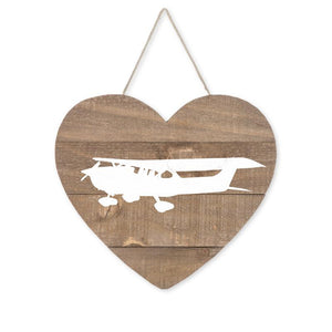 "Love Aviation Single-Engine Airplane Heart Wood Sign, Brown/White, 9 1/2"" x 10 7/8"" x 9/16"", Gifts Signs - Item 171013-WHT"