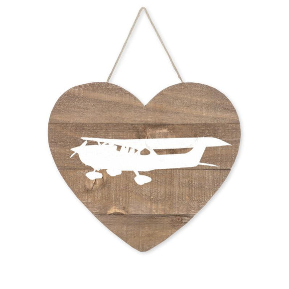 Love Aviation Single-Engine Airplane Heart Wood Sign, Brown/White, 9 1/2