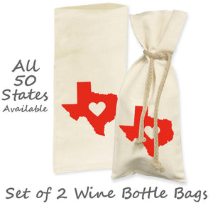 "Love State Center Heart Wine Bottle Gift Bag (Set of 2), Natural/Red, 6""x14"", Hometown Gifts Bags - Item 171016-RED"