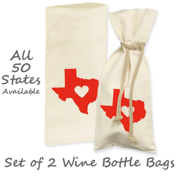 Love State Center Heart Wine Bottle Gift Bag (Set of 2), Natural/Red, 6
