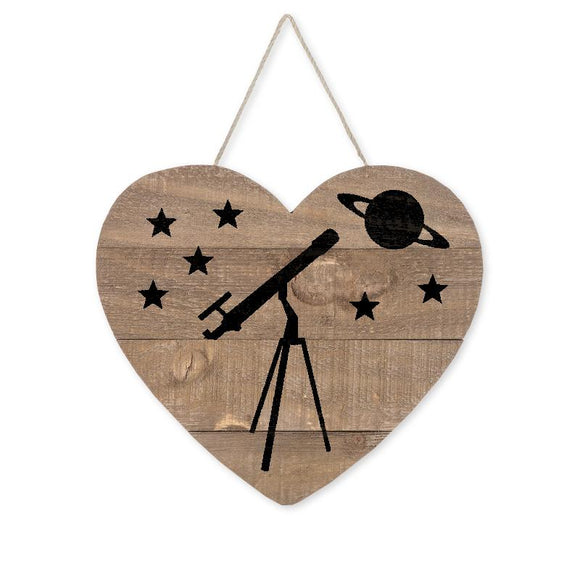 Love Astronomy Telescope Planet Heart Wood Sign, Brown/Black, 9 1/2