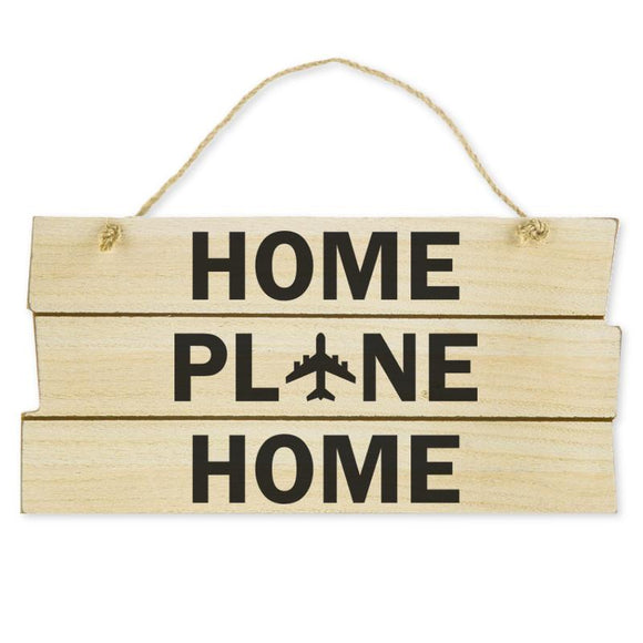 Home Plane Home Aviation Hanging Wood Wall Sign, Natural/Black, 5 7/8