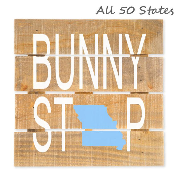 Easter Bunny Stop State Hanging Wood Sign w/Easel Stand, Brown/White, 7 7/8