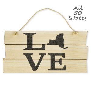 "Love State Hanging Wood Wall Sign, Natural/Black, 5 7/8""x11 3/4""x3/8"", Jute Rope, Hometown Home Gifts Signs - Item 171041-BLK"