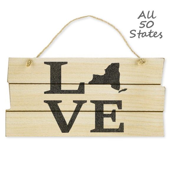 Love State Hanging Wood Wall Sign, Natural/Black, 5 7/8
