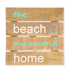 "The Beach Is My Second Home Hanging Wood Sign w/Easel Stand, Brown/Turquoise, 7 7/8"" x 7 7/8"" x 1"", Sea Signs - Item 171044-TRQ"
