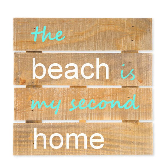 The Beach Is My Second Home Hanging Wood Sign w/Easel Stand, Brown/Turquoise, 7 7/8