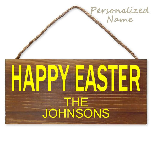 Personalized Happy Easter Wood Wall Hanging Sign with Name, Brown/Yellow, 5 1/2
