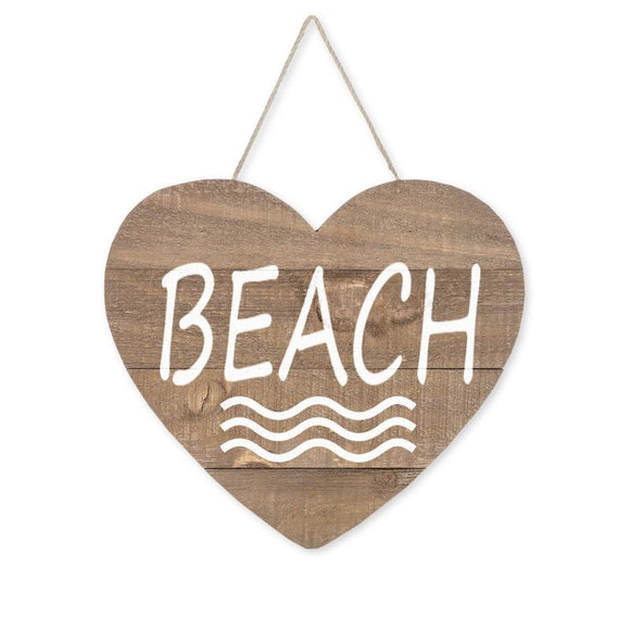 Love Beach Heart Wood Sign, Brown/White, 9 1/2