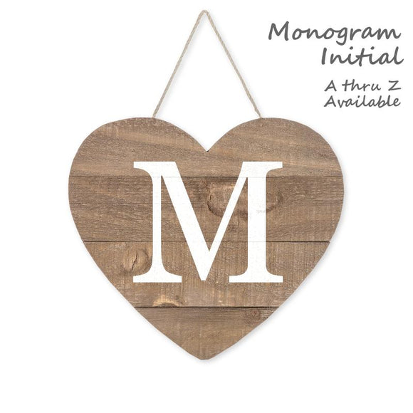Personalized Wood Heart Sign Single Initial Monogram, Brown/White, 9 1/2