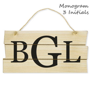 "Personalized Wood Wall Sign 3 Initials Monogram, Natural/Black, 5 7/8""x11 3/4""x3/8"", Jute Rope, Custom Signs - Item 171099-BLK"