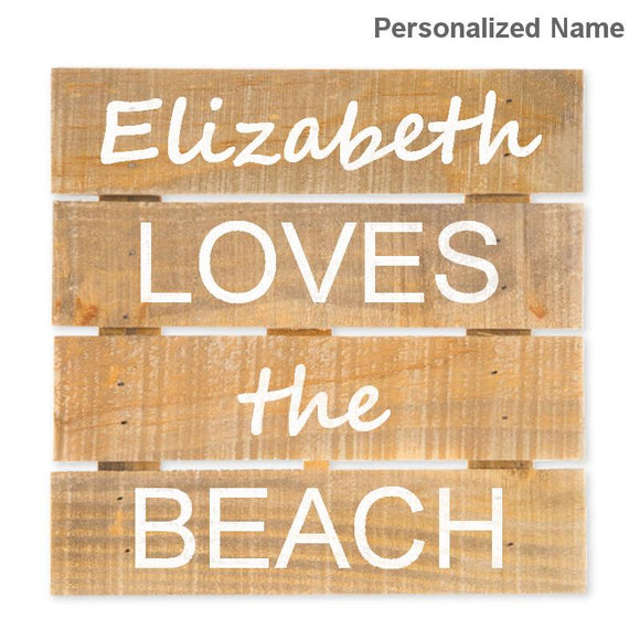 Personalized Loves the Beach Hanging Wood Sign w/Easel Stand, Brown/White, 7 7/8