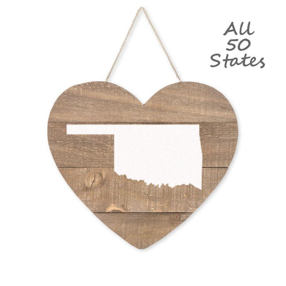 Home State Love Hanging Heart Wood Sign with Rope, Brown/White, 9 1/2