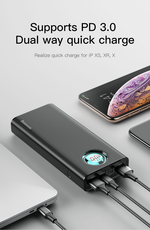 Baseus 20000mAh Type C PD Fast Charging + Quick Charge 3.0 USB Powerbank