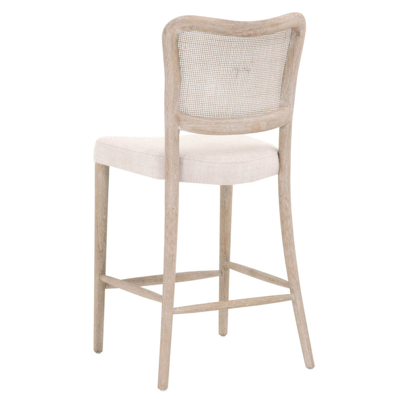 Cela Counter Stool - Bisque, Natural Gray Oak, Cane