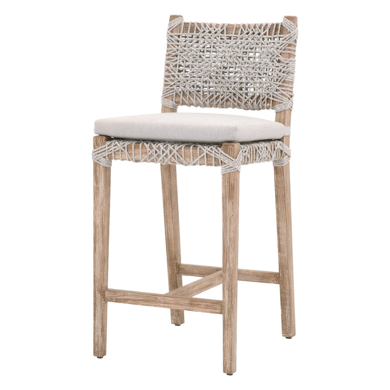 Flat Rope Counter Stool - Taupe & White