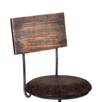 Damian Adjustable Barstool in Industrial Gray Finish with Brown Fabric seat