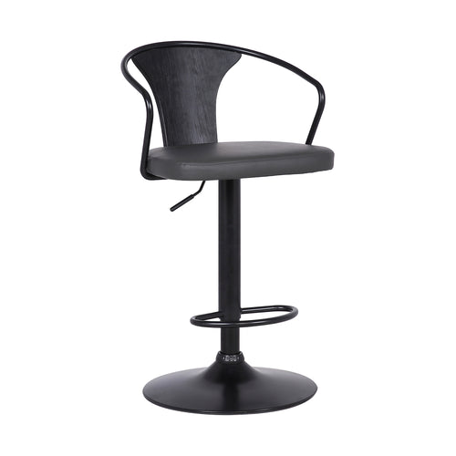 Eagle Contemporary Adjustable Barstool in Black Powder Coated Finish with Grey Faux Leather and Black Brushed Wood Finish Back