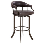 Justin Counter Height Barstool in a Brown Powder Coated Finish and Vintage Brown Faux Leather