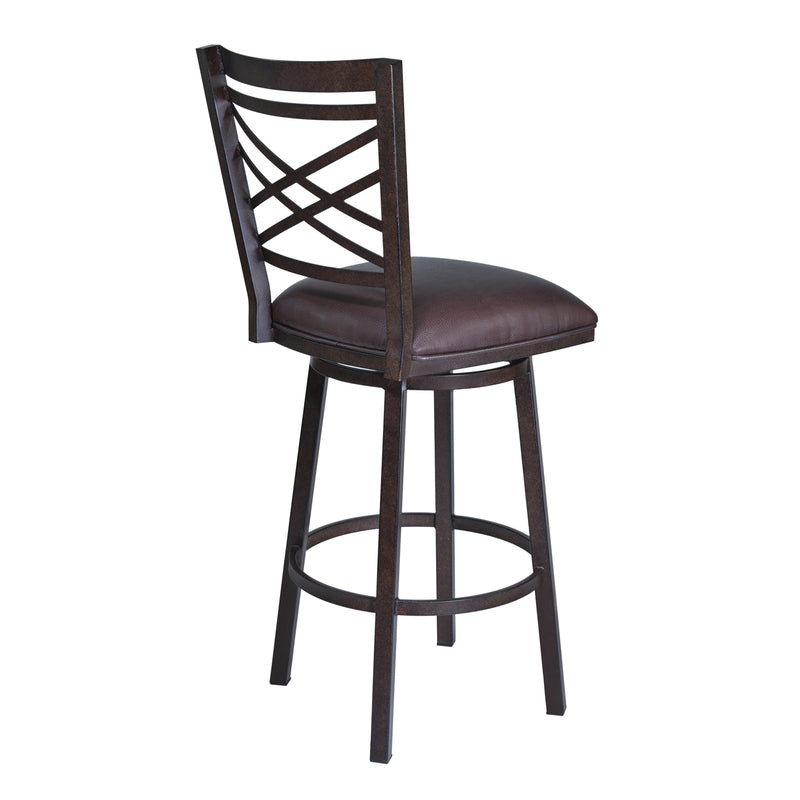 Fargo Barstool in Auburn Bay finish with Brown Pu upholstery