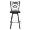 Fargo Counter Height Metal Barstool in Mineral Finish with Black Faux Leather