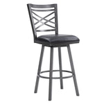 Fargo Counter Stool or Barstool in Mineral Finish with Black Faux Leather