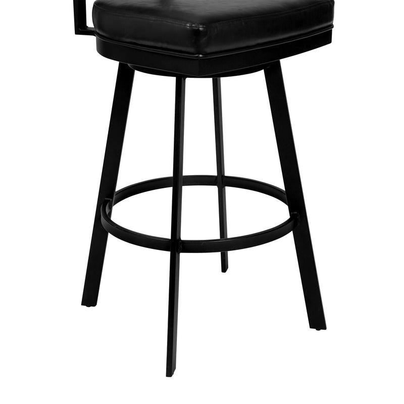 Frisco Counter Height Barstool in Matte Black Finish with Black Faux Leather and Grey Walnut