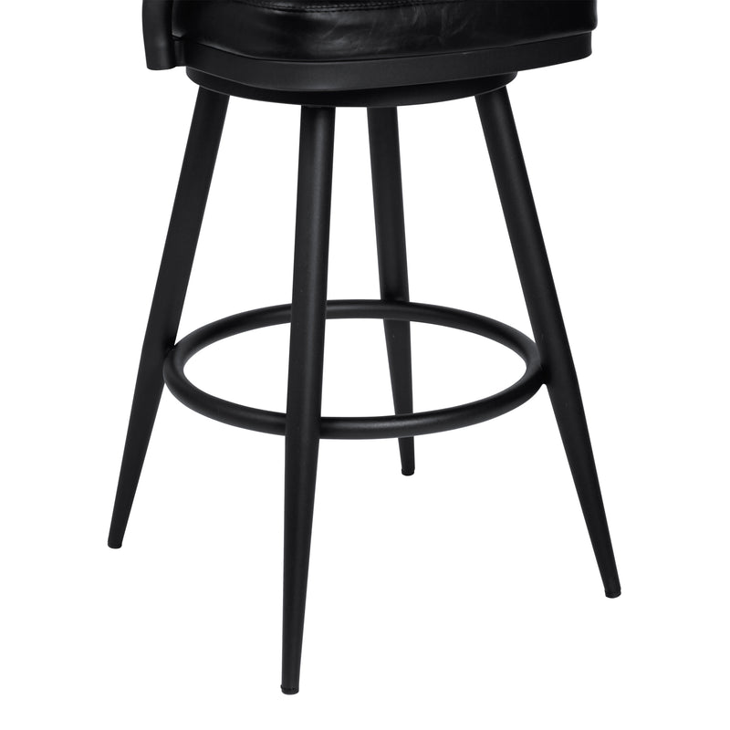 Justin Counter Height Barstool in a Black Powder Coated Finish and Vintage Black Faux Leather