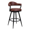 Justin Counter Height Barstool in a Black Powder Coated Finish and Vintage Coffee Faux Leather