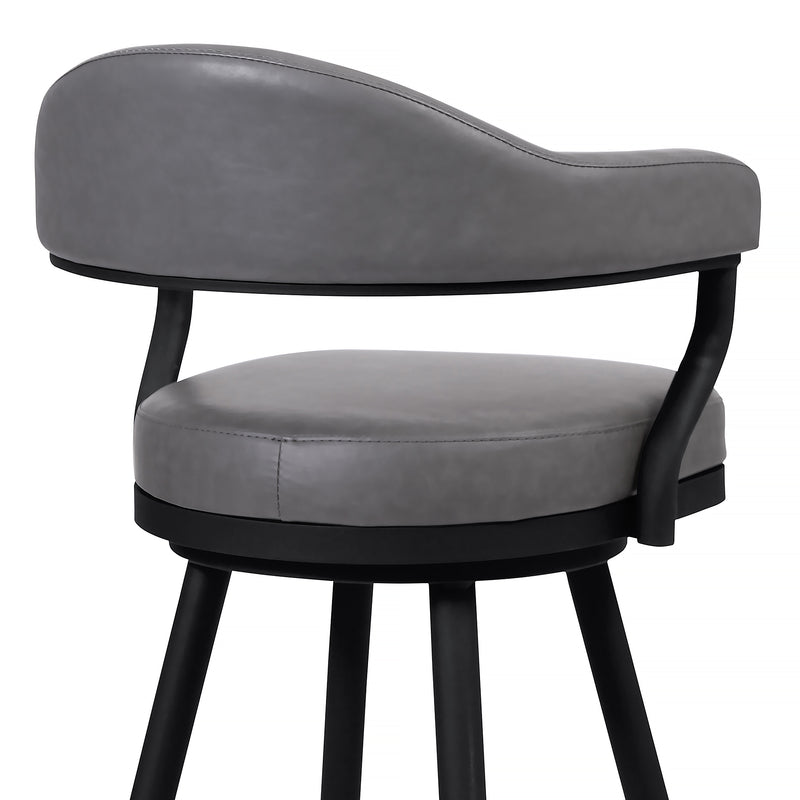 Justin Counter Height Barstool in a Black Powder Coated Finish and Vintage Grey Faux Leather