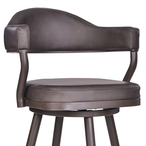 Justin Bar Height Barstool in a Brown Powder Coated Finish and Vintage Brown Faux Leather