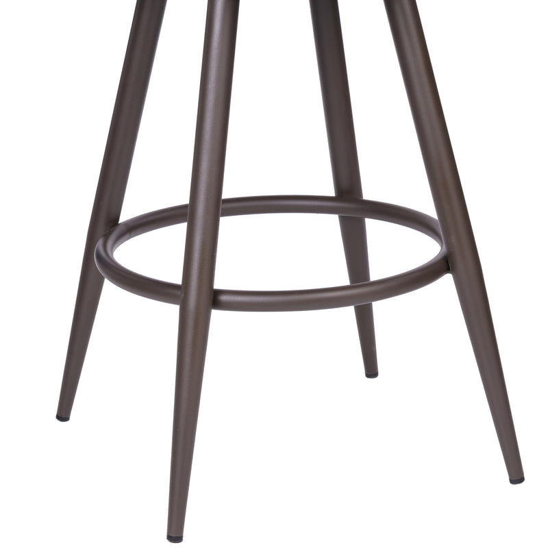 Justin Counter Stool or Barstool in a Brown Powder Coated Finish and Vintage Brown Faux Leather
