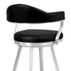 Justin Counter Stool or Barstool in Brushed Stainless Steel and Vintage Black Faux Leather