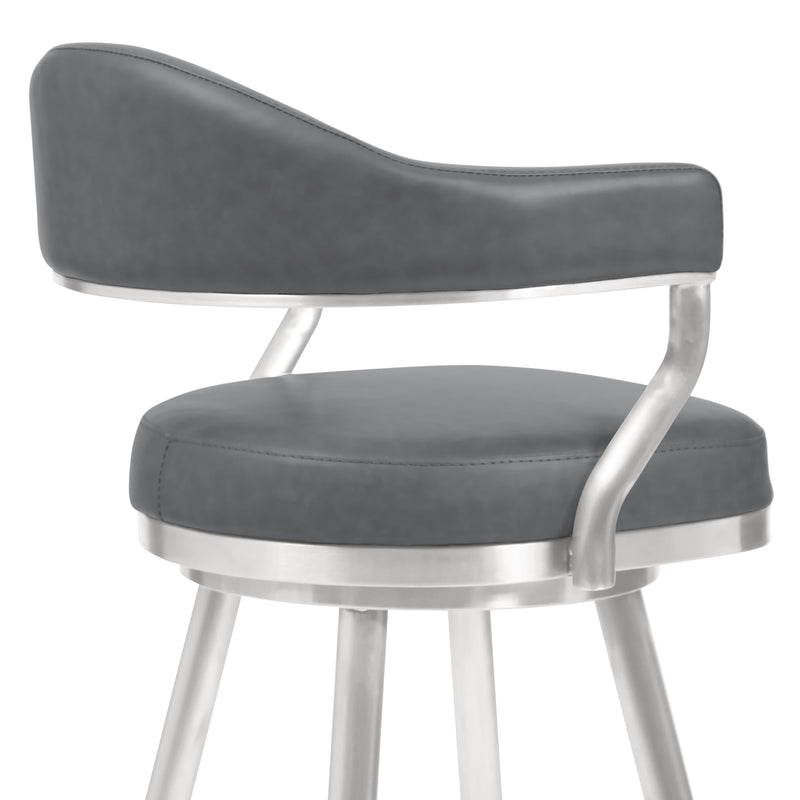 Justin Bar Height Barstool in Brushed Stainless Steel and Vintage Grey Faux Leather