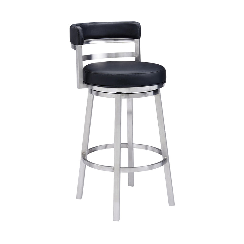 Madrid Contemporary Counter Height Barstool in Brushed Stainless Steel Finish and Black Faux Leather