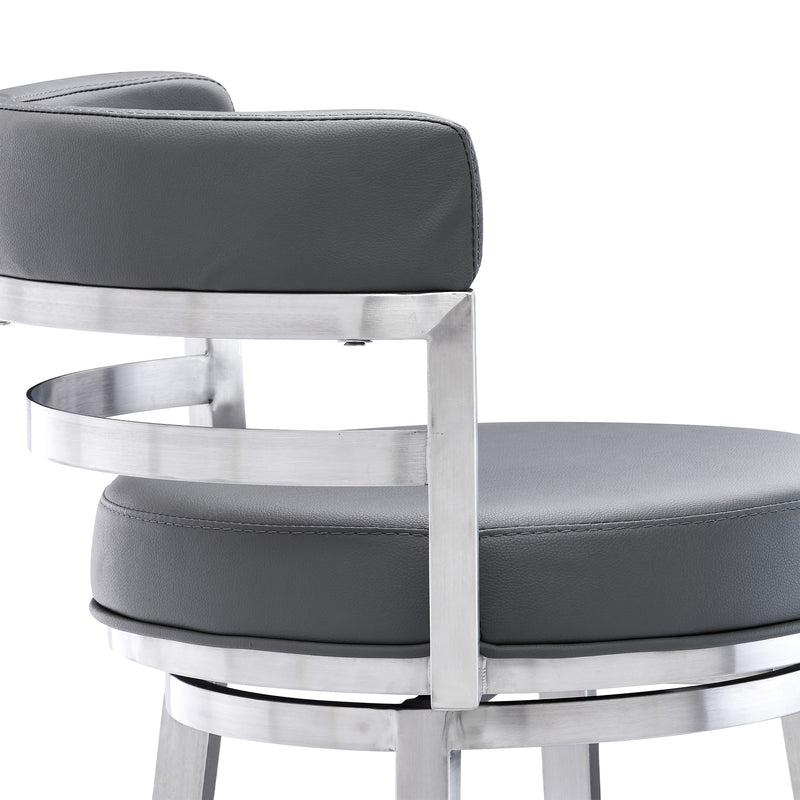 Madrid Contemporary Counter Height Barstool in Brushed Stainless Steel Finish and Grey Faux Leather