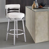 Madrid Contemporary Bar Height Barstool in Brushed Stainless Steel Finish and White Faux Leather