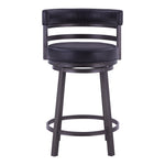 Madrid Counter Stool or Barstool Metal Swivel Barstool in Ford Black Pu and Black Finish
