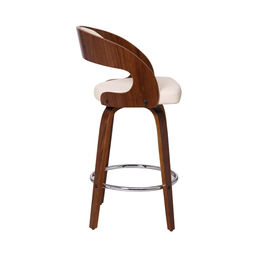 Shelly Contemporary Counter Stool or Barstool Swivel Barstool in Walnut Wood Finish and Cream Faux Leather