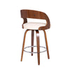 Shelly Contemporary Counter Height Swivel Barstool in Walnut Wood Finish and Cream Faux Leather