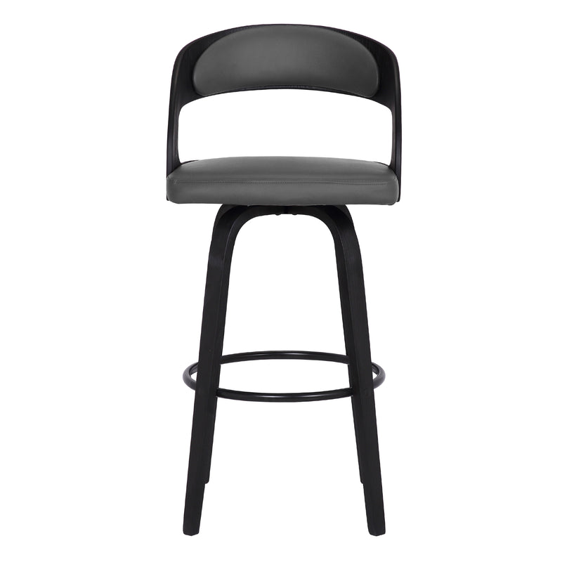 Shelly Contemporary Counter Height Swivel Barstool in Black Brush Wood Finish and Grey Faux Leather