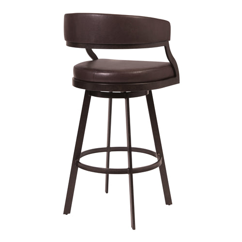 Saturn Counter Stool or Barstool in Auburn Bay and Brown Faux Leather