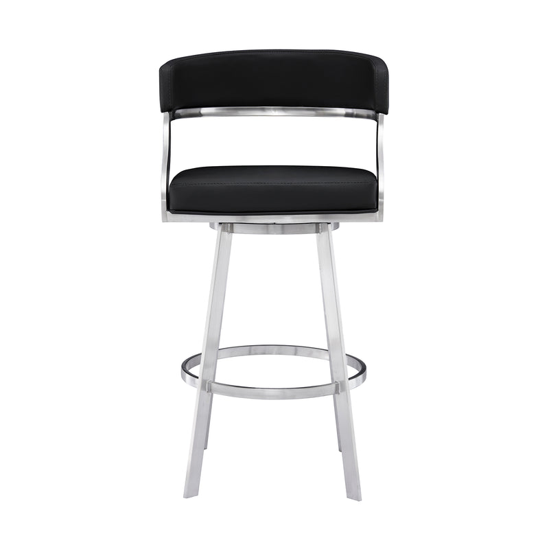 Saturn Contemporary Counter Height Barstool in Brushed Stainless Steel Finish and Black Faux Leather