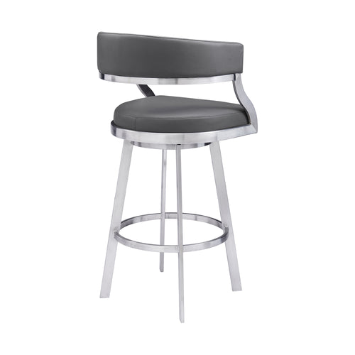 Saturn Contemporary Counter Height Barstool in Brushed Stainless Steel Finish and Grey Faux Leather