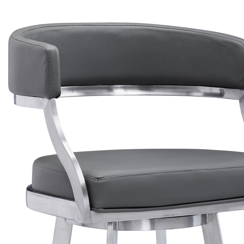 Saturn Contemporary Counter Stool or Barstool in Brushed Stainless Steel Finish and Grey Faux Leather